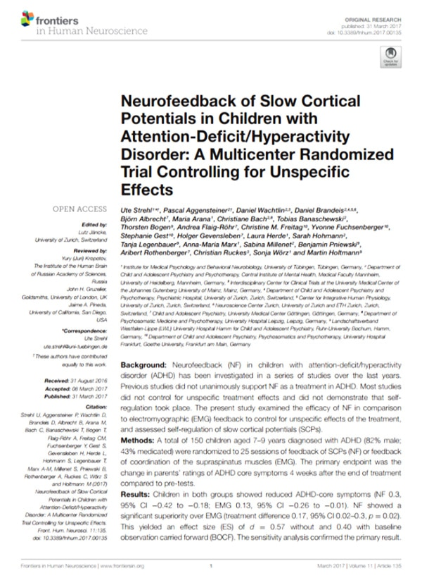 Studie ADHS Neurofeedback / Neurofeedback of Slow Cortical Potentials in Children with Attention-Deficit/Hyperactivity Disorder: A Multicenter Randomized Trial Controlling for Unspecific Effects